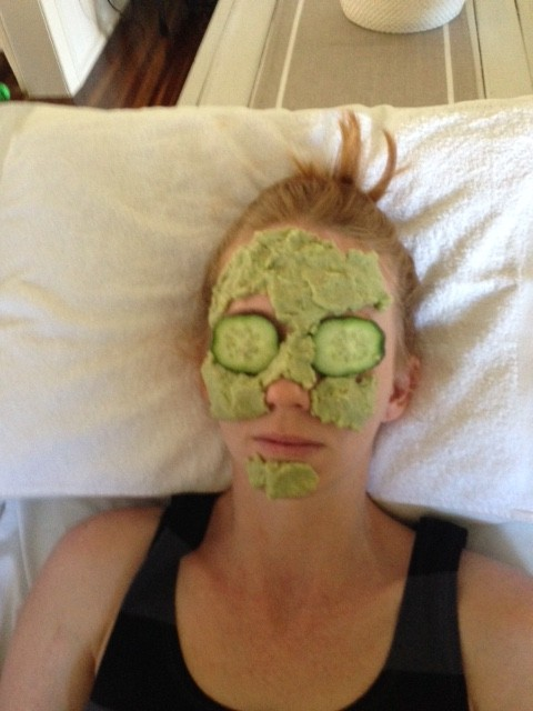 Allison with a natural avocado mask