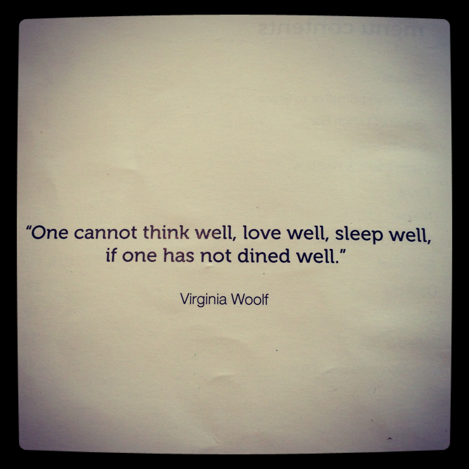 Yoga and food Virginia Wolf quote